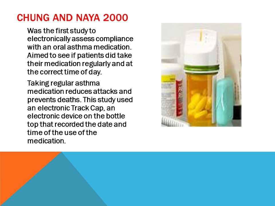 CHUNG AND NAYA 2000 Was the first study to electronically assess compliance with an oral asthma medication.