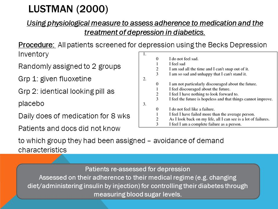 LUSTMAN (2000) Using physiological measure to assess adherence to medication and the treatment of depression in diabetics.