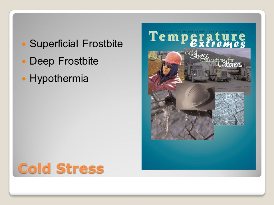 Cold Stress Superficial Frostbite Deep Frostbite Hypothermia