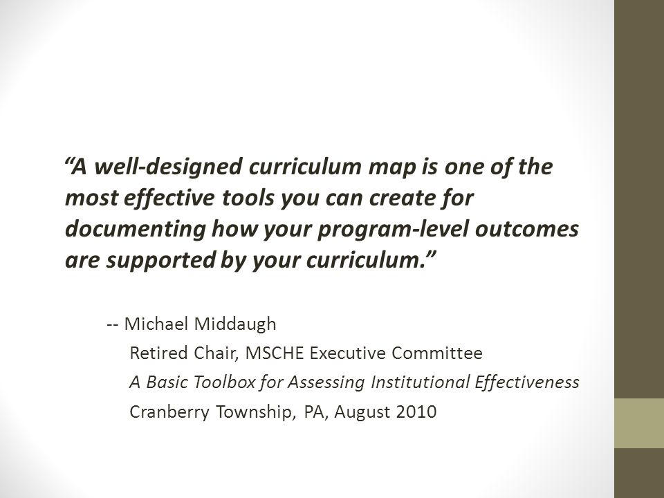 """A well-designed curriculum map is one of the most effective tools you can create for documenting how your program-level outcomes are supported by you"
