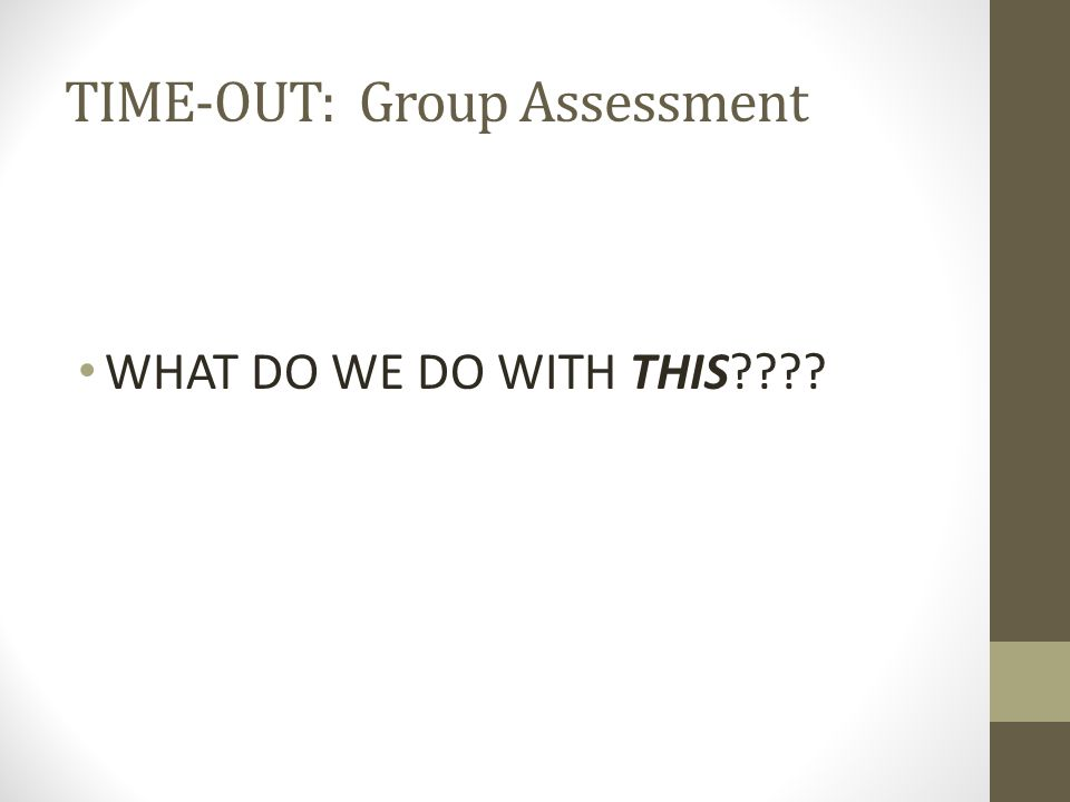 TIME-OUT: Group Assessment WHAT DO WE DO WITH THIS????