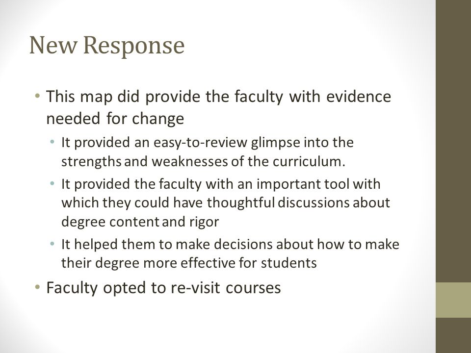New Response This map did provide the faculty with evidence needed for change It provided an easy-to-review glimpse into the strengths and weaknesses