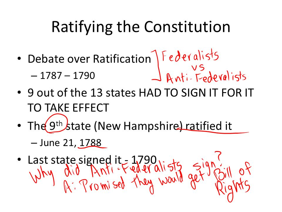 Ratifying the Constitution Debate over Ratification – 1787 – 1790 9 out of the 13 states HAD TO SIGN IT FOR IT TO TAKE EFFECT The 9 th state (New Hamp