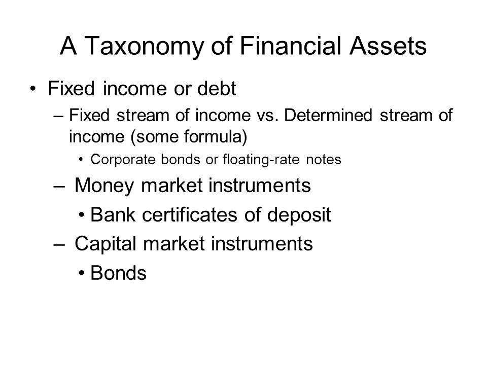 A Taxonomy of Financial Assets Fixed income or debt –Fixed stream of income vs. Determined stream of income (some formula) Corporate bonds or floating