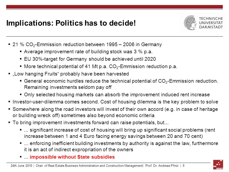 Implications: Politics has to decide!  21 % CO 2 -Emmission reduction between 1995 – 2006 in Germany  Average improvement rate of building stock was