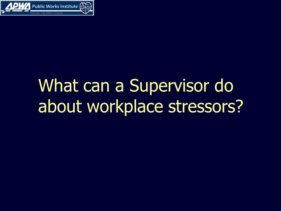 What can a Supervisor do about workplace stressors