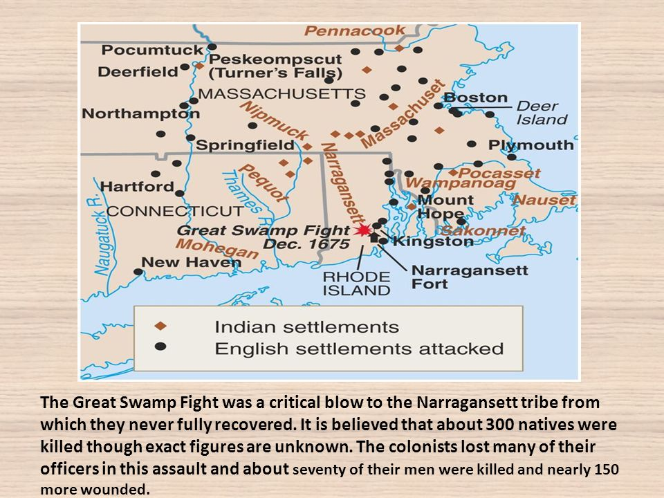 The Great Swamp Fight was a critical blow to the Narragansett tribe from which they never fully recovered.