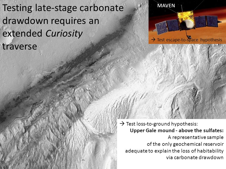 Testing late-stage carbonate drawdown requires an extended Curiosity traverse MAVEN  Test escape-to-space hypothesis Upper Gale mound - above the sulfates: A representative sample of the only geochemical reservoir adequate to explain the loss of habitability via carbonate drawdown  Test loss-to-ground hypothesis: