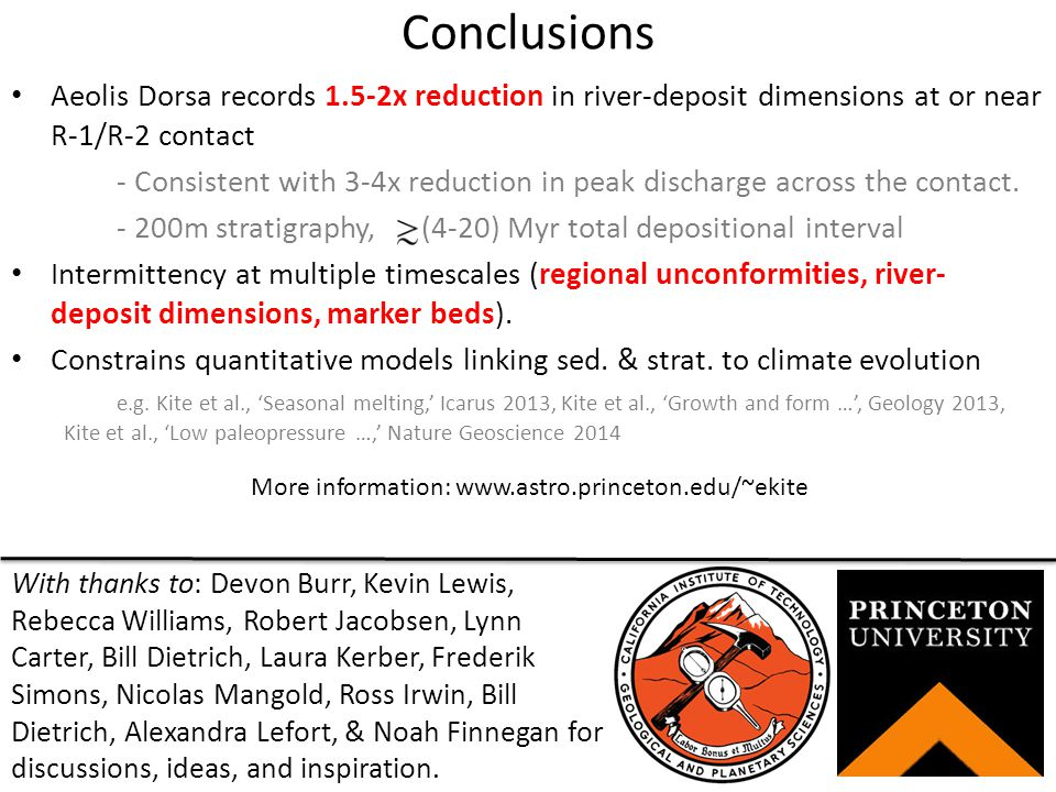 Conclusions Aeolis Dorsa records 1.5-2x reduction in river-deposit dimensions at or near R-1/R-2 contact - Consistent with 3-4x reduction in peak discharge across the contact.