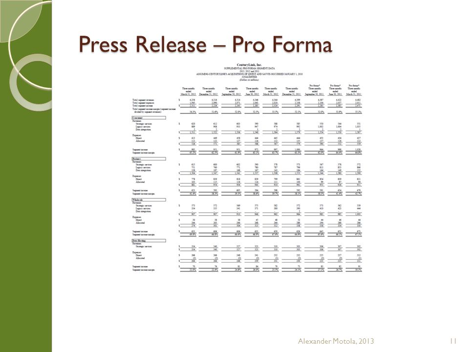 Press Release – Pro Forma Alexander Motola, 201311