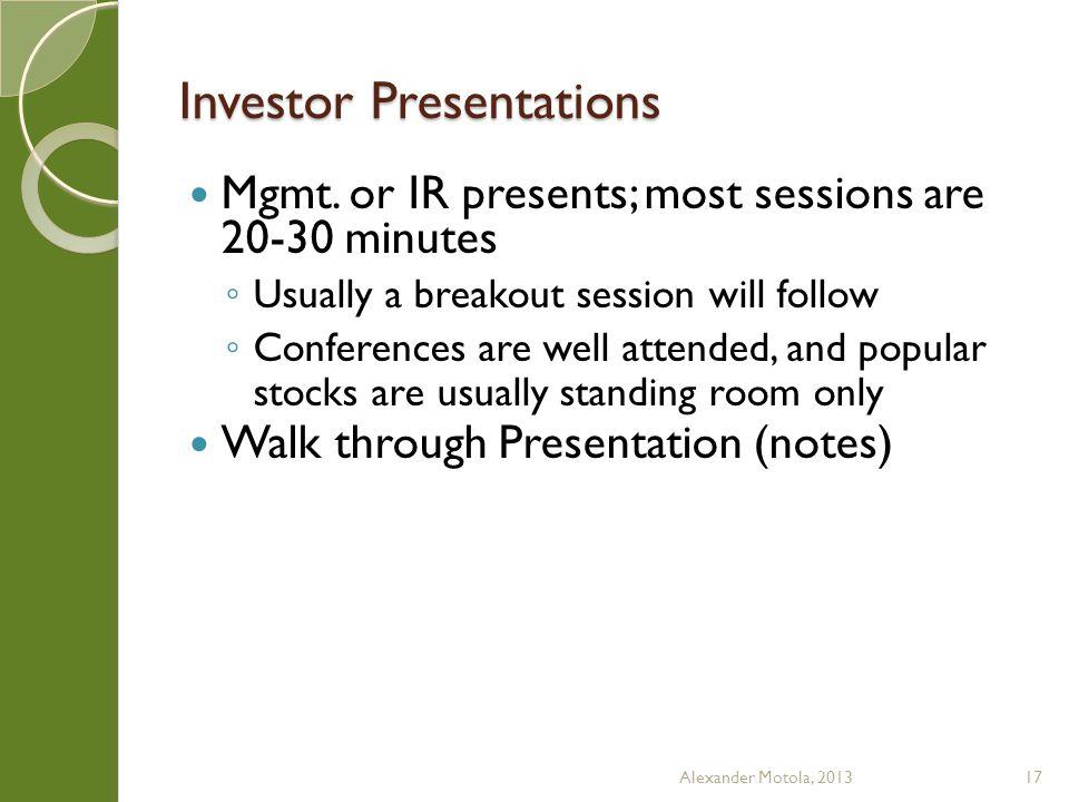 Investor Presentations Mgmt.