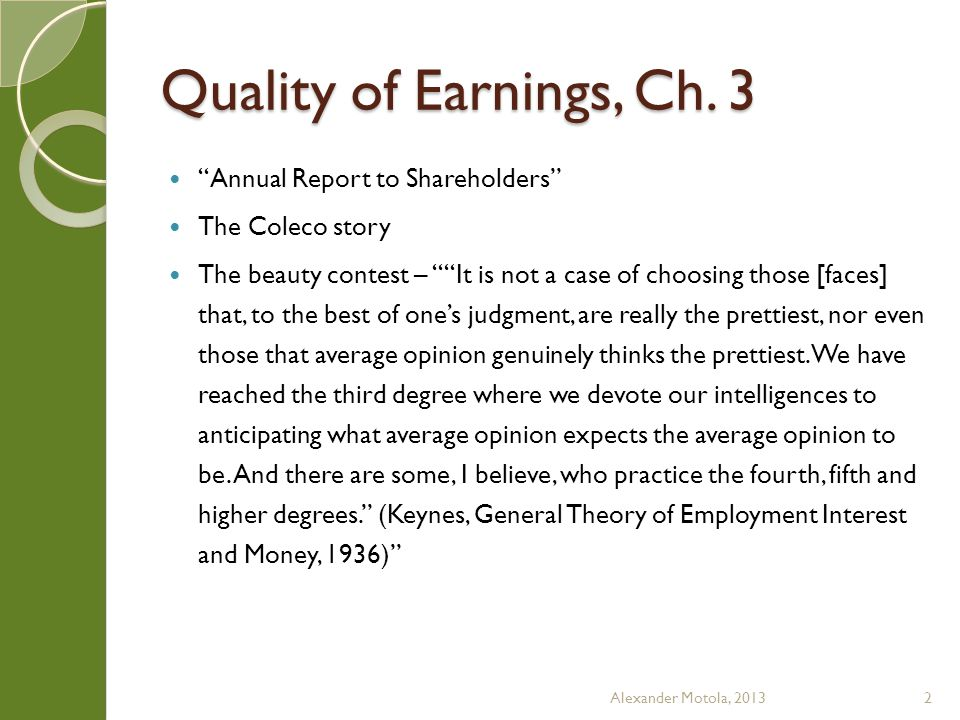 Quality of Earnings, Ch.