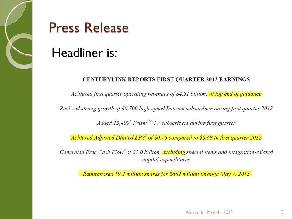 Press Release Headliner is: Alexander Motola, 20135