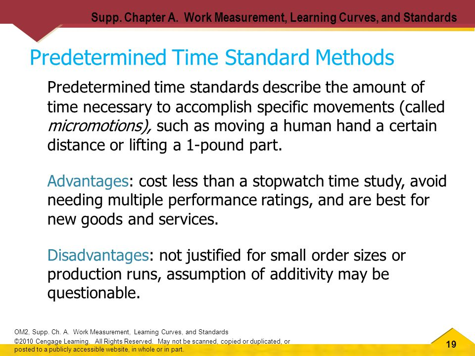 19 OM2, Supp. Ch. A. Work Measurement, Learning Curves, and Standards ©2010 Cengage Learning.