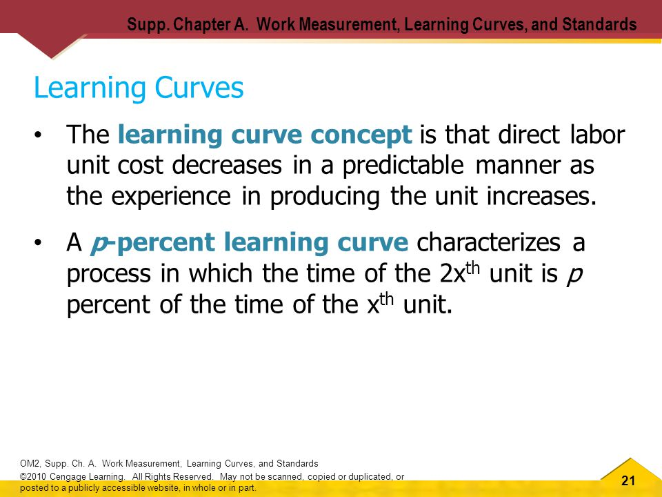 21 OM2, Supp. Ch. A. Work Measurement, Learning Curves, and Standards ©2010 Cengage Learning.