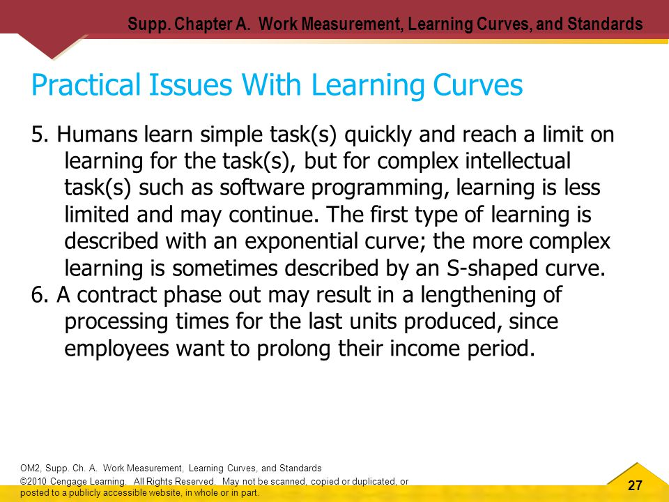 27 OM2, Supp. Ch. A. Work Measurement, Learning Curves, and Standards ©2010 Cengage Learning.