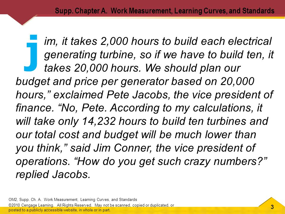 3 OM2, Supp. Ch. A. Work Measurement, Learning Curves, and Standards ©2010 Cengage Learning.