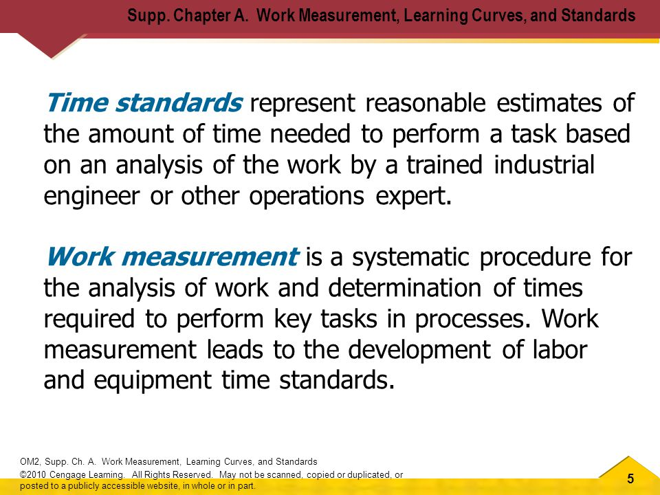 5 OM2, Supp. Ch. A. Work Measurement, Learning Curves, and Standards ©2010 Cengage Learning.