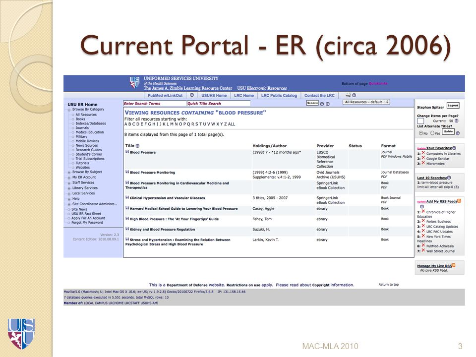 Current Portal - ER (circa 2006) MAC-MLA 20103