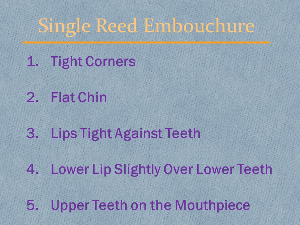 Double Reed Embouchure 1.Tight Corners 2.Flat Chin 3.Both Lips Over Teeth