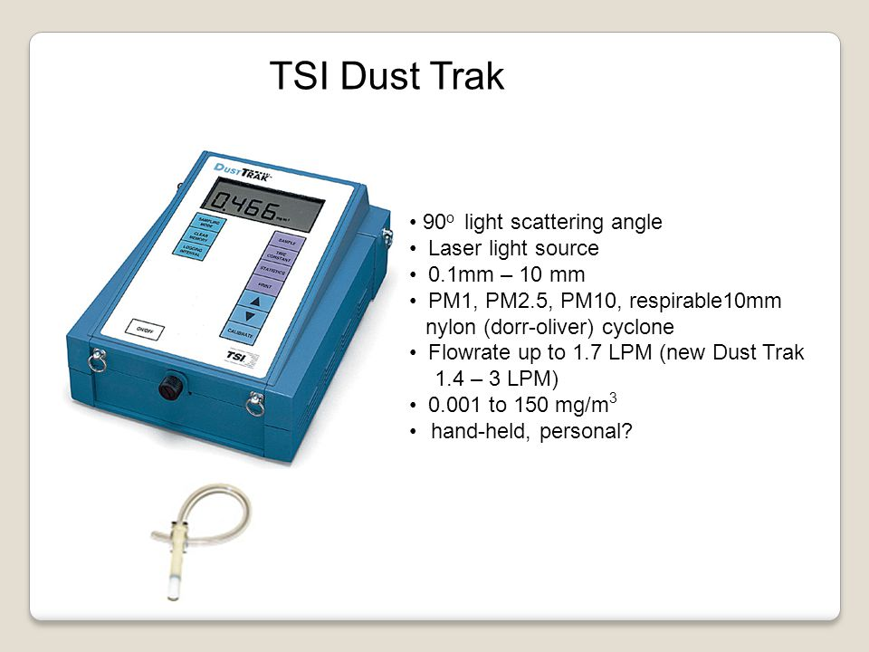 TSI Dust Trak 90 o light scattering angle Laser light source 0.1mm – 10 mm PM1, PM2.5, PM10, respirable10mm nylon (dorr-oliver) cyclone Flowrate up to