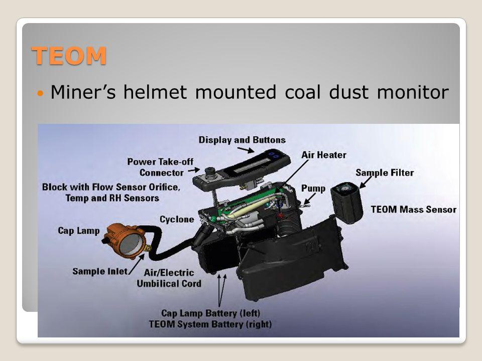 TEOM Miner's helmet mounted coal dust monitor