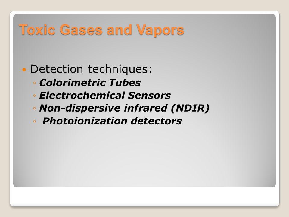 Toxic Gases and Vapors Detection techniques: ◦Colorimetric Tubes ◦Electrochemical Sensors ◦Non-dispersive infrared (NDIR) ◦ Photoionization detectors