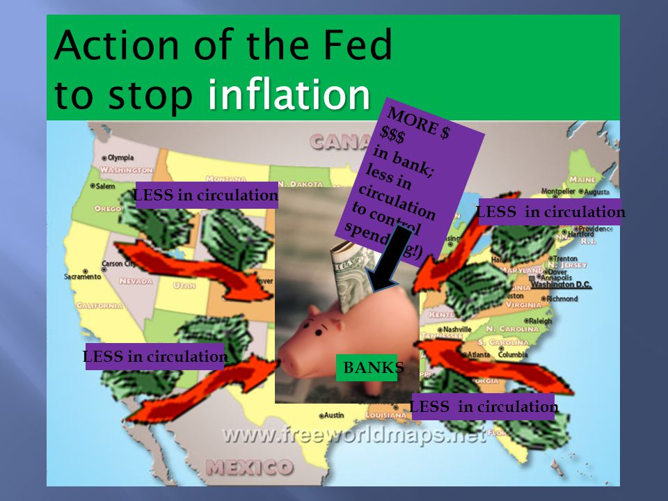 MORE $ $$$ in bank; less in circulation to control spending!) LESS in circulation BANKS