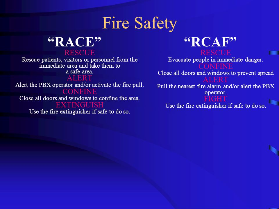 Fire Safety RACE RESCUE Rescue patients, visitors or personnel from the immediate area and take them to a safe area.