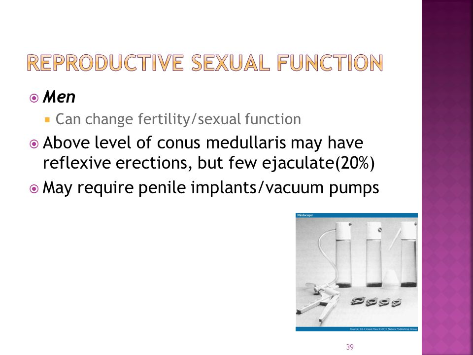 Men  Can change fertility/sexual function  Above level of conus medullaris may have reflexive erections, but few ejaculate(20%)  May require penile implants/vacuum pumps 39