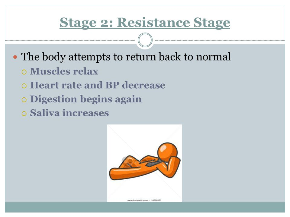 Stage:1 Alarm stage  Adrenaline is released and prepares your body for a quick action.