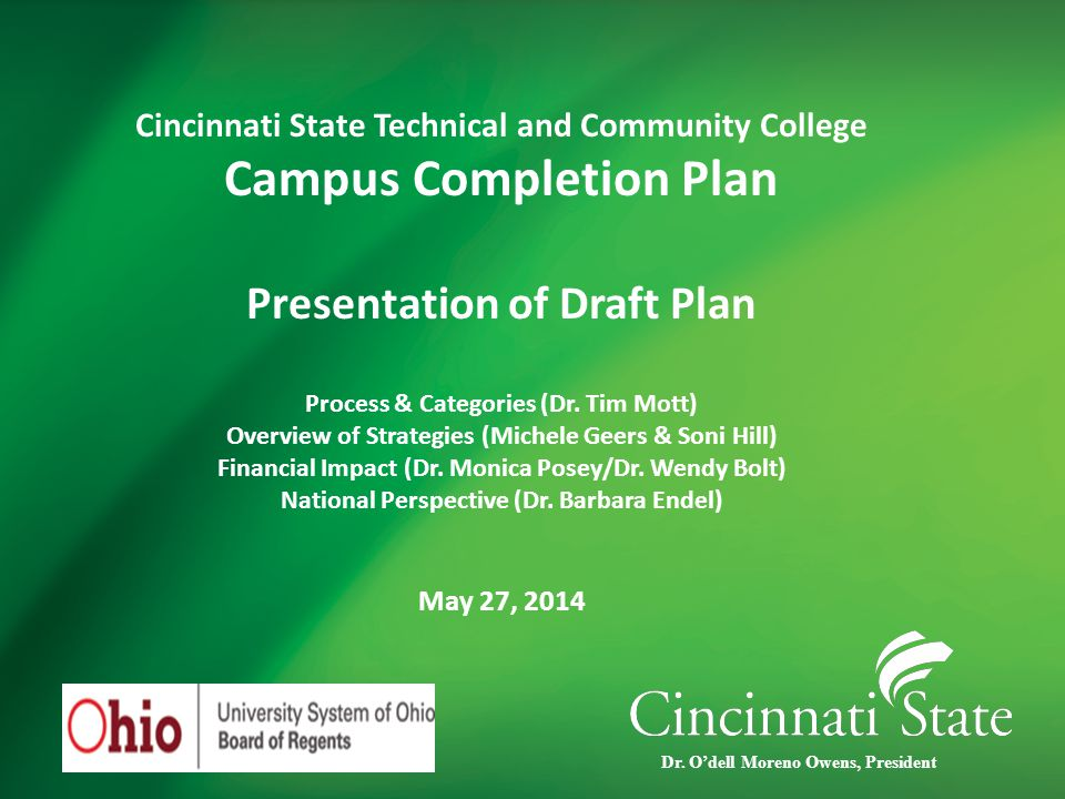 Campus Completion Plan Process  Study of Best Practices (OBR Completion Summit, PLA Conference & Other)  Steering Council  Subteams (faculty, staff and student members)  Data Collection/Analysis  Subteam proposals and presentations  Completion Retreat(President, Executive Team, Cabinet, Steering Council)  Organize, write and revise plan