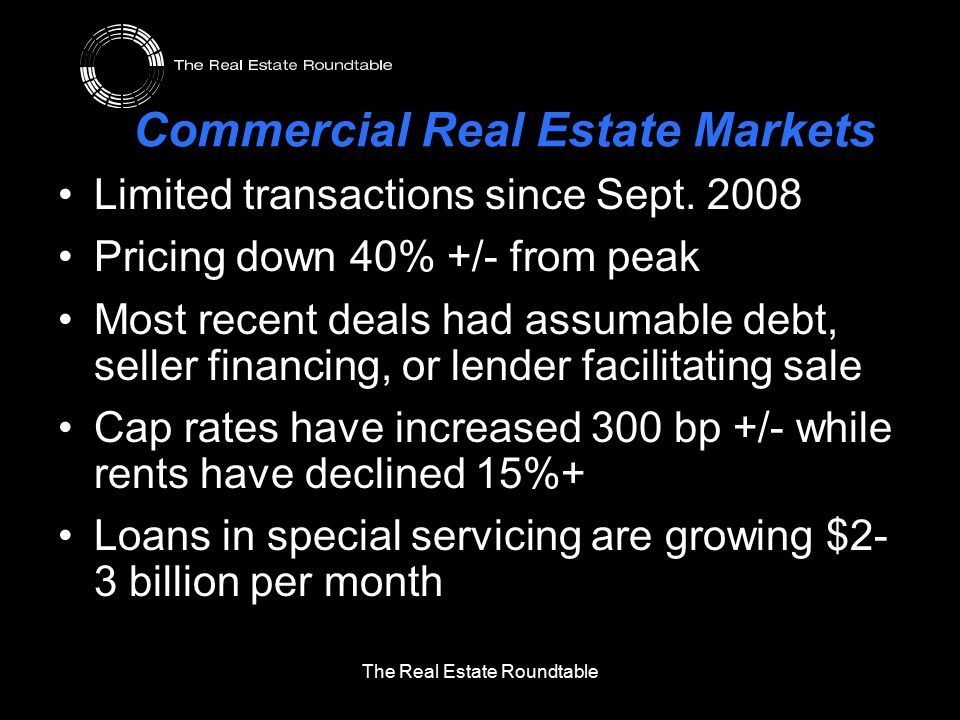 Commercial Real Estate Markets Limited transactions since Sept. 2008 Pricing down 40% +/- from peak Most recent deals had assumable debt, seller finan