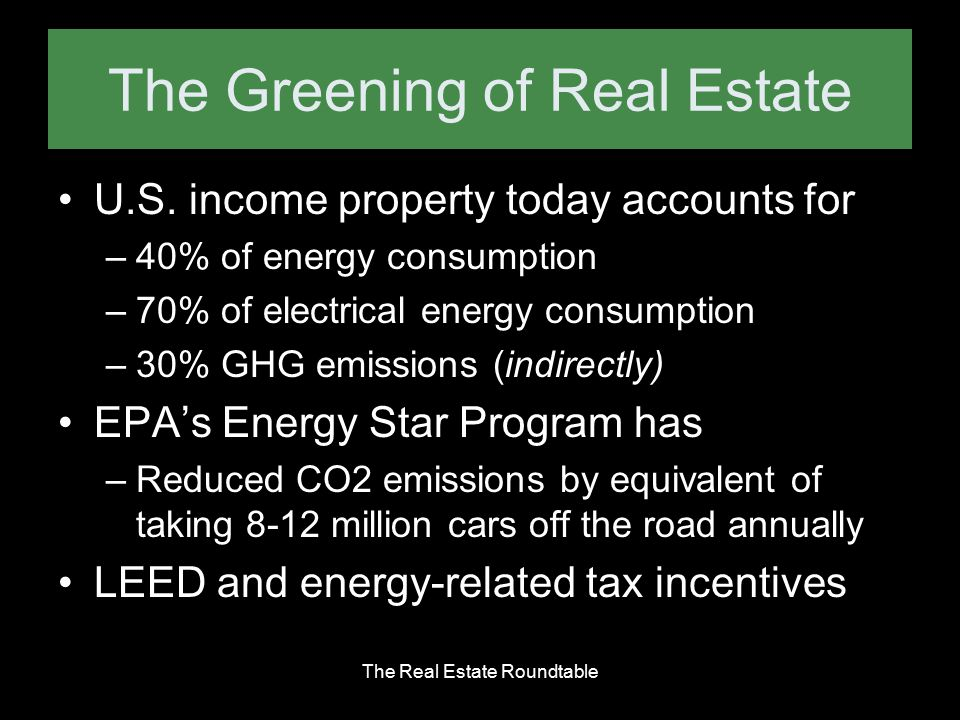 The Greening of Real Estate U.S. income property today accounts for –40% of energy consumption –70% of electrical energy consumption –30% GHG emission