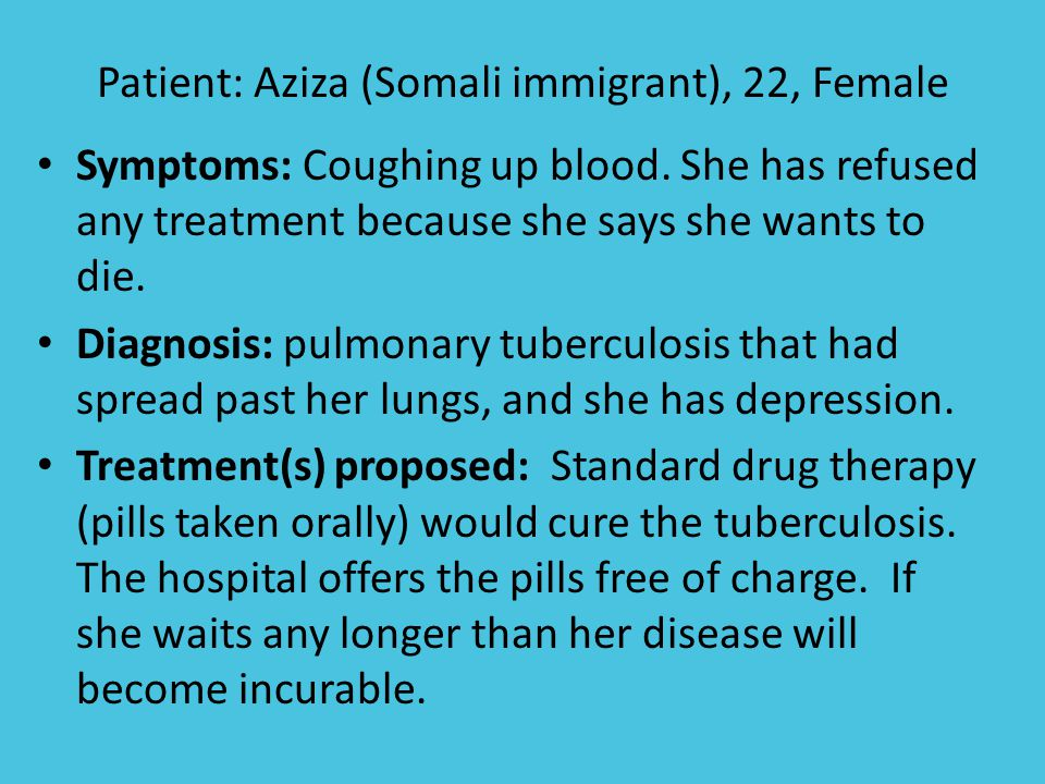 Patient: Aziza (Somali immigrant), 22, Female Symptoms: Coughing up blood.