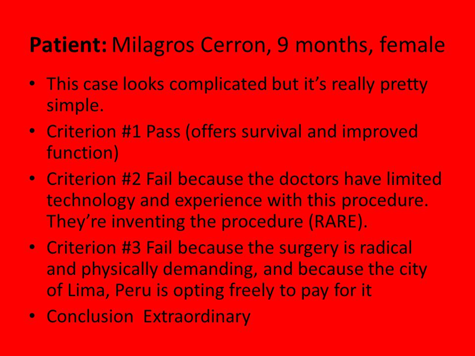 Patient: Milagros Cerron, 9 months, female This case looks complicated but it's really pretty simple.