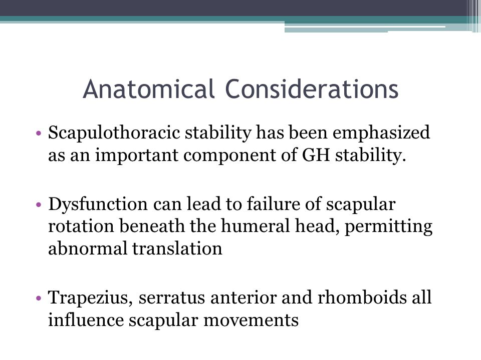 Anatomical Considerations Scapulothoracic stability has been emphasized as an important component of GH stability. Dysfunction can lead to failure of