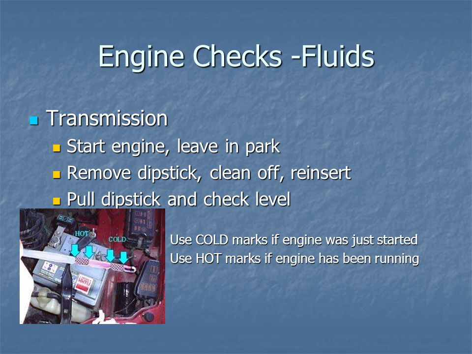 Engine Checks -Fluids Transmission Transmission Start engine, leave in park Start engine, leave in park Remove dipstick, clean off, reinsert Remove dipstick, clean off, reinsert Pull dipstick and check level Pull dipstick and check level Use COLD marks if engine was just started Use HOT marks if engine has been running