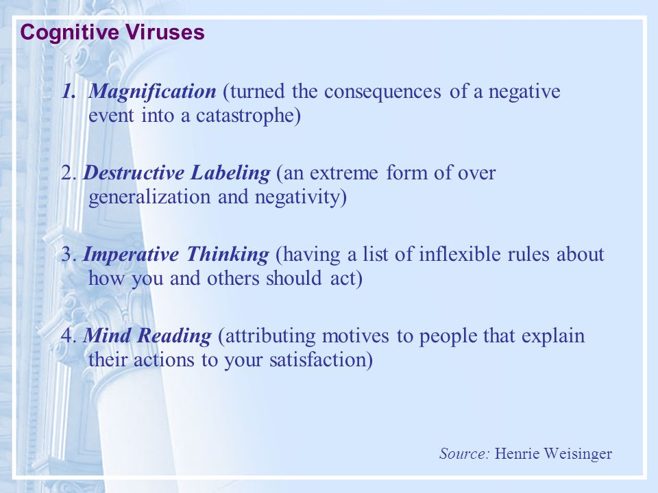 Cognitive Viruses 1.Magnification (turned the consequences of a negative event into a catastrophe) 2.