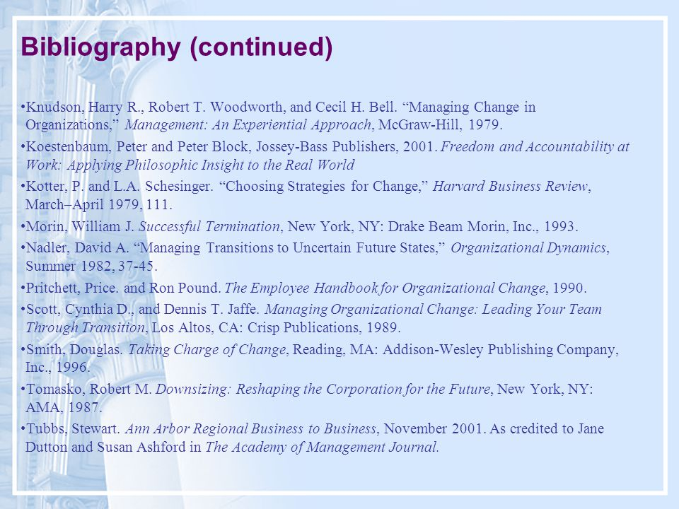 Bibliography (continued) Knudson, Harry R., Robert T.