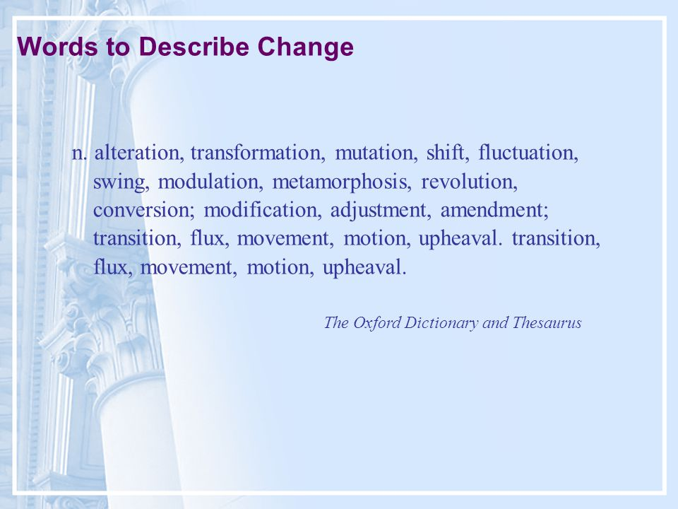 Words to Describe Change n.
