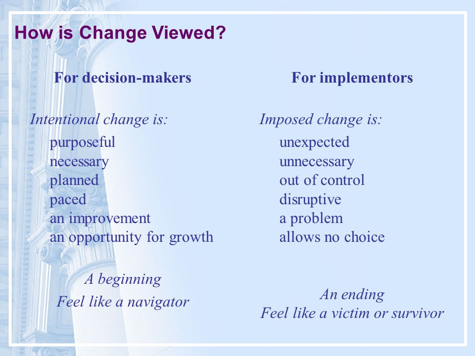 How is Change Viewed.