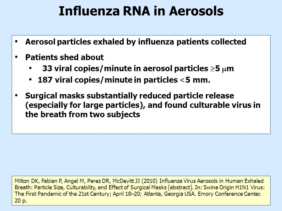 Influenza RNA in Aerosols Aerosol particles exhaled by influenza patients collected Patients shed about 33 viral copies/minute in aerosol particles  5  m 187 viral copies/minute in particles <5 mm.