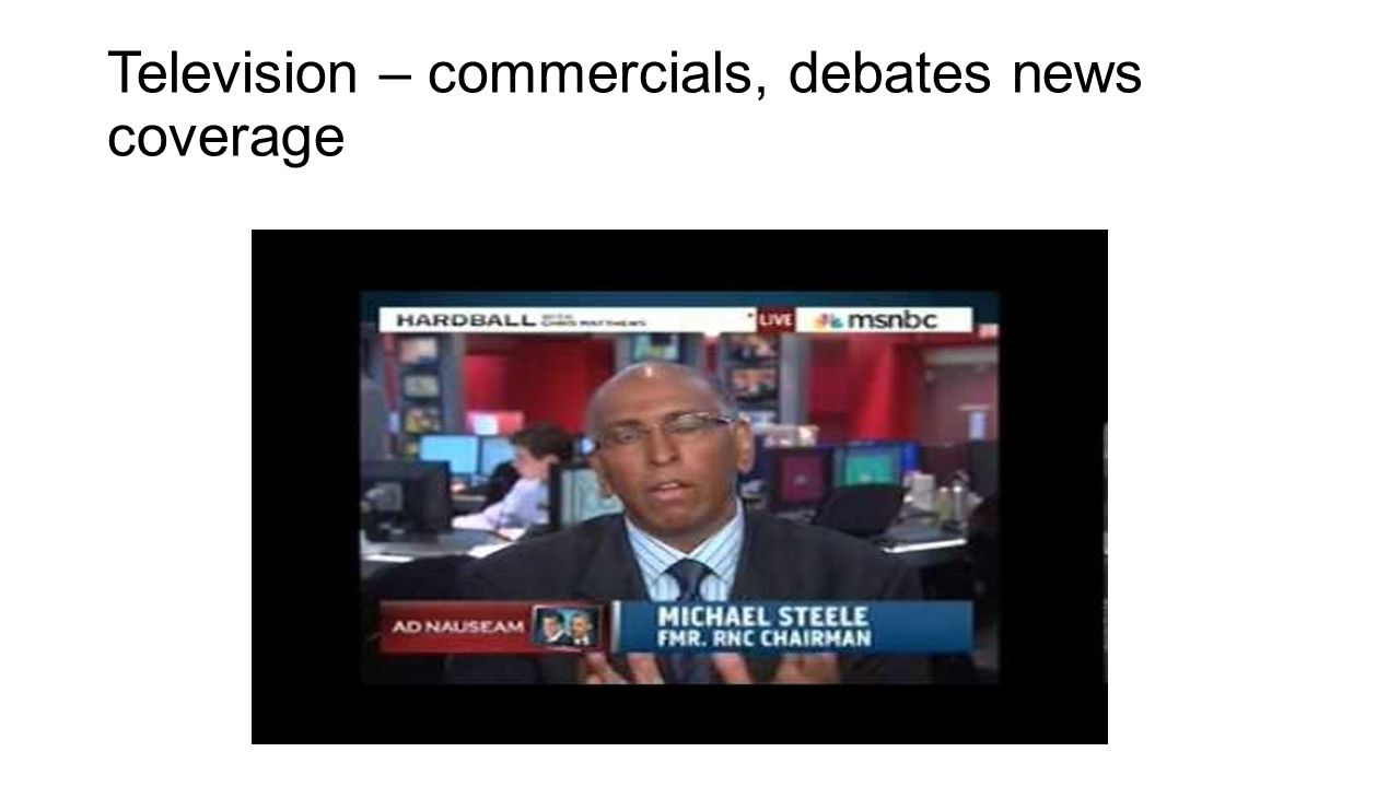 Television – commercials, debates news coverage