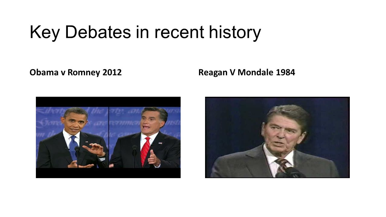Key Debates in recent history Obama v Romney 2012Reagan V Mondale 1984