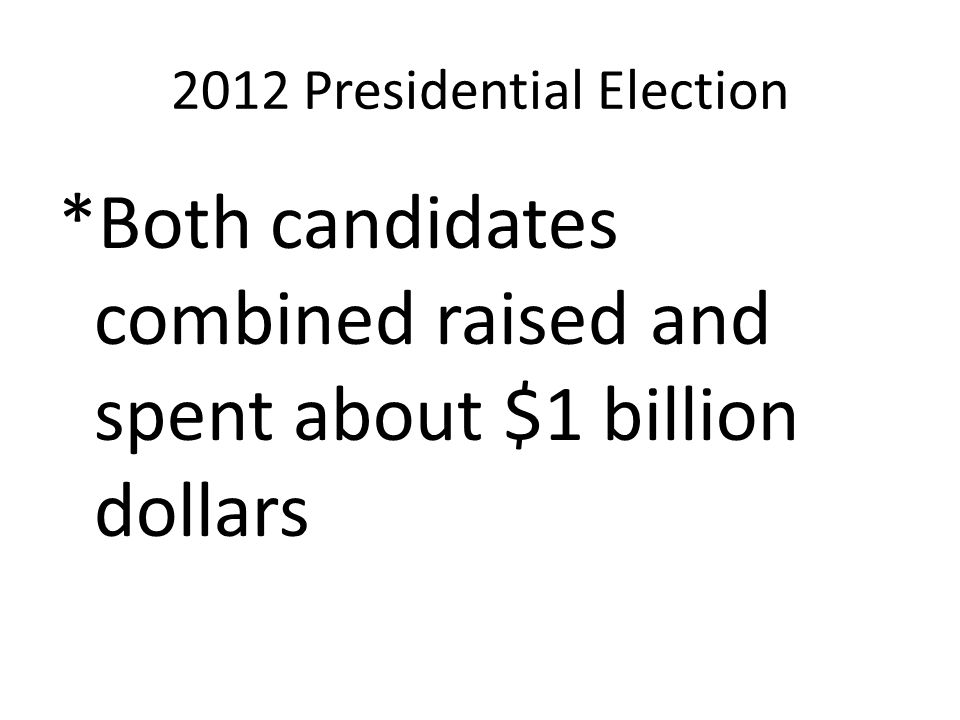2012 Presidential Election *Both candidates combined raised and spent about $1 billion dollars