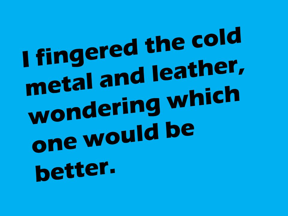 I fingered the cold metal and leather, wondering which one would be better.