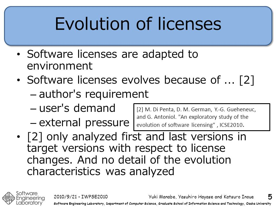 Software Engineering Laboratory, Department of Computer Science, Graduate School of Information Science and Technology, Osaka University Evolution of licenses Software licenses are adapted to environment Software licenses evolves because of...