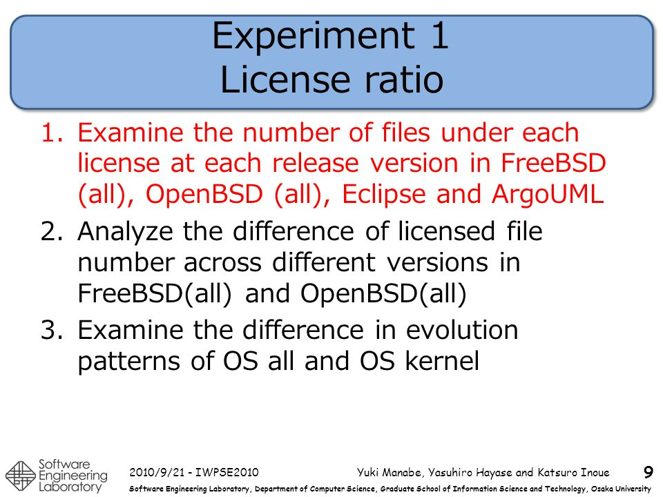 Software Engineering Laboratory, Department of Computer Science, Graduate School of Information Science and Technology, Osaka University Experiment 1 License ratio 1.Examine the number of files under each license at each release version in FreeBSD (all), OpenBSD (all), Eclipse and ArgoUML 2.Analyze the difference of licensed file number across different versions in FreeBSD(all) and OpenBSD(all) 3.Examine the difference in evolution patterns of OS all and OS kernel 2010/9/21 - IWPSE2010Yuki Manabe, Yasuhiro Hayase and Katsuro Inoue 9