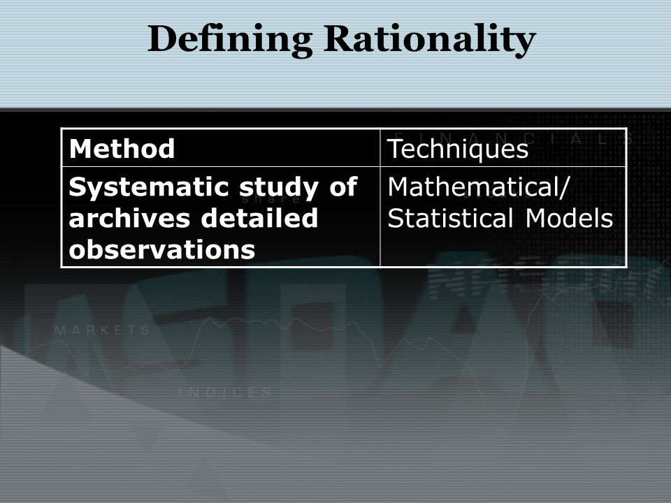 Defining Rationality MethodTechniques Systematic study of archives detailed observations Mathematical/ Statistical Models